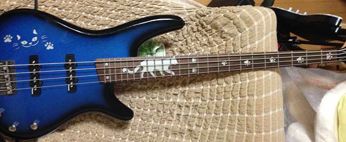 Bass Guitar with Cat inlay