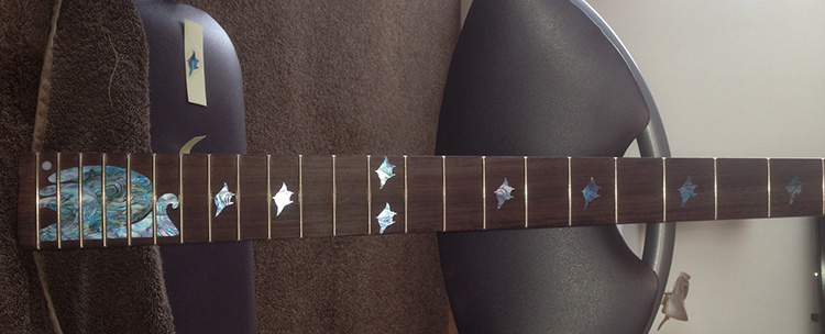 the neck with the stingray inlays on