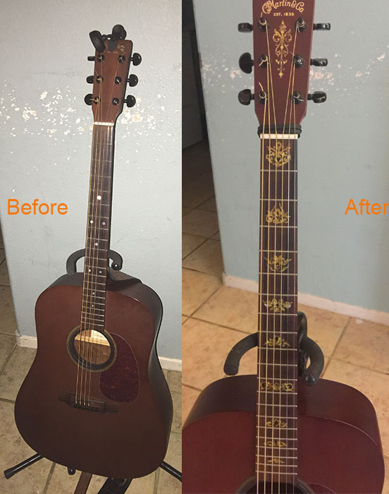guitar modiy before after
