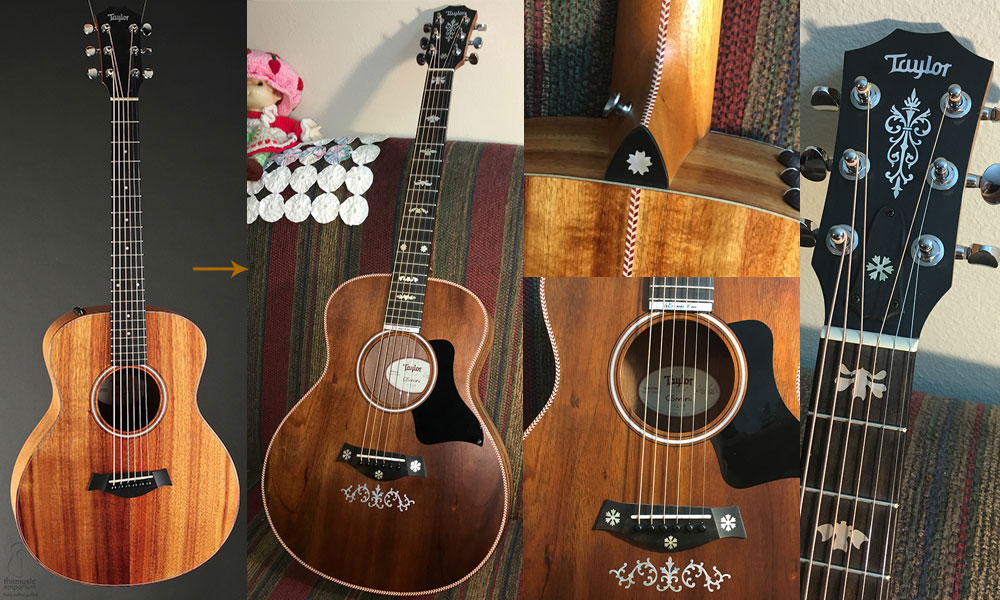 Taylor GS mini Koa decoration with inlay stickers