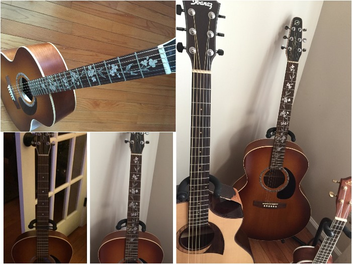 'my guitar and ukulele Seagull' 'Ibanez' and 'Lanikai' with inlay stickers