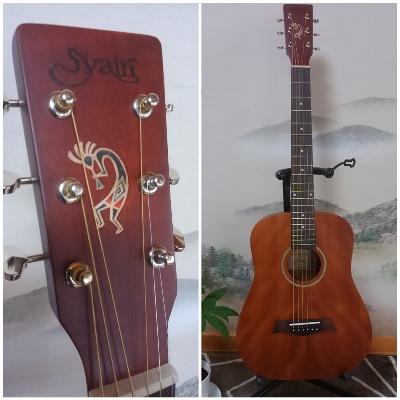 S. ヤイリのミニギター ヘッドにココペリのインレイステッカーでカスタマイズ