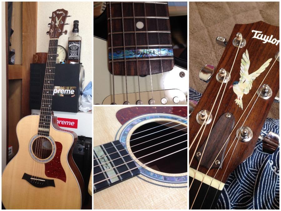Taylor アコースティックギターにロゼッタインレイステッカー 指板にネームインレイ
