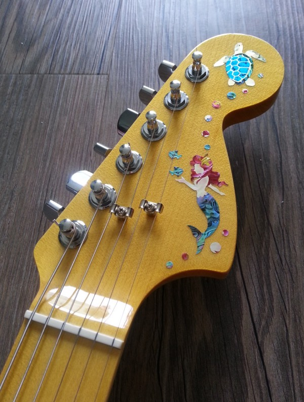 70's Fender headstock with inlay sticker Little Mermaid
