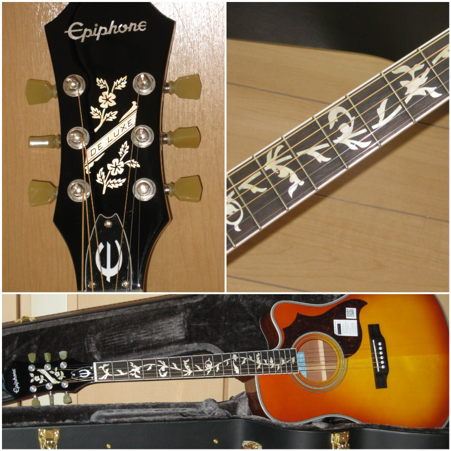 Epiphone FT-350SCE with vintage flower headstock inlay sticker