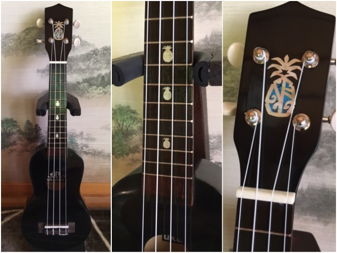 Suzuki Ukulele kit with pineapple inlay decal and headstock sticker