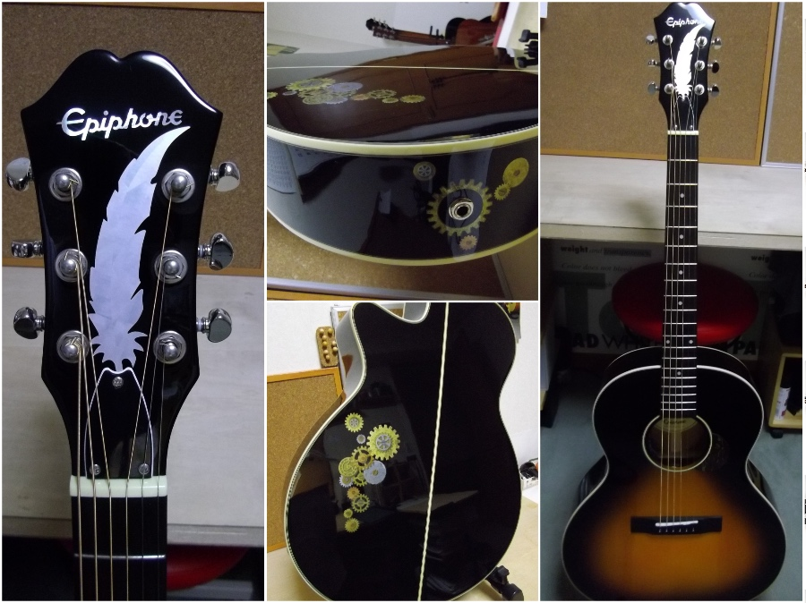 white feather inlay decals for guitar body