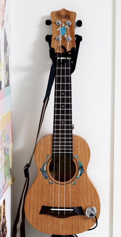 Dolphins rosetta inlay sticker on KAKA ukulele