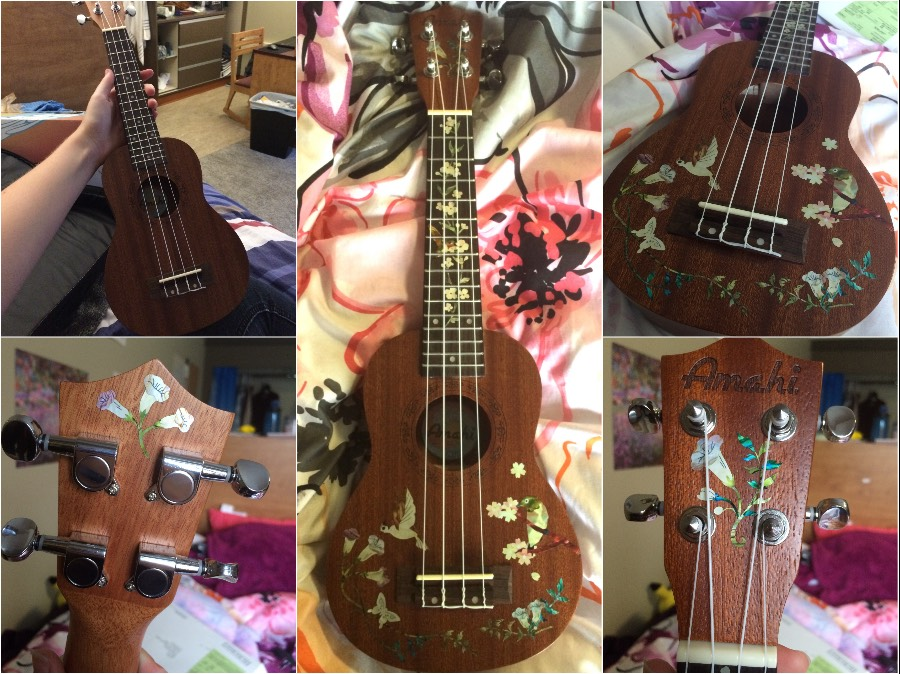 beautiful stickers hummingbird inlay decal on my ukulele