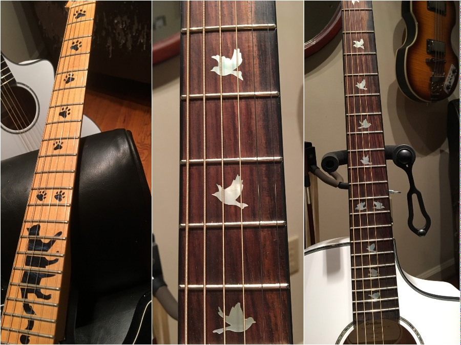 funny cat print and dove inlay on my guitar neck