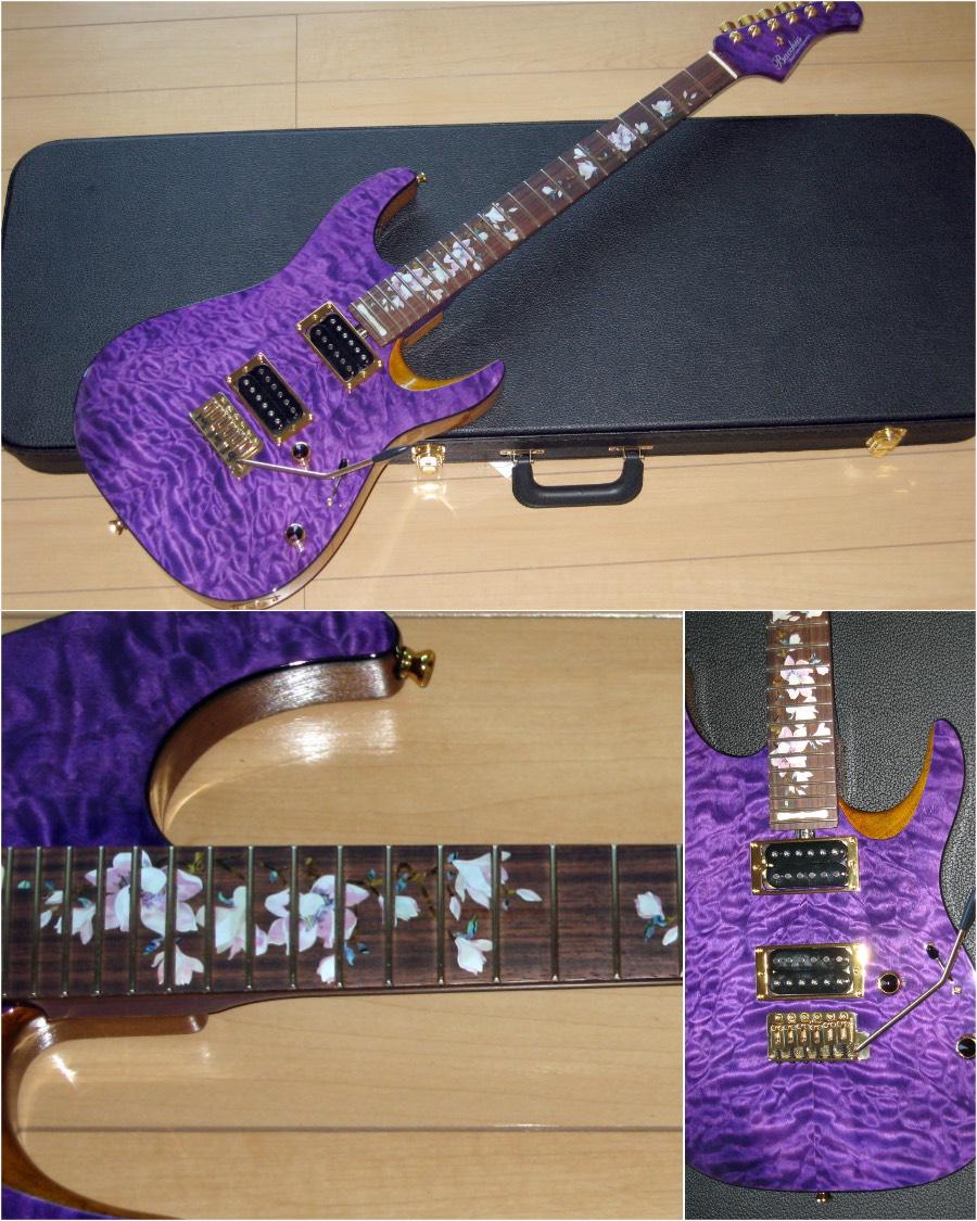 バッカス ギター パープル・カラーのボディ Magnoliaインレイステッカー