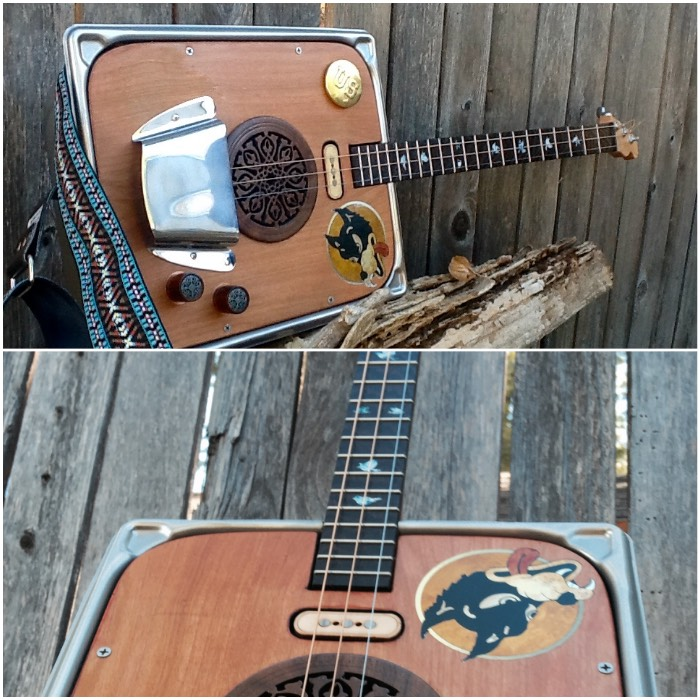Cigar Box 3-strings guitar Dove Inlay sticker