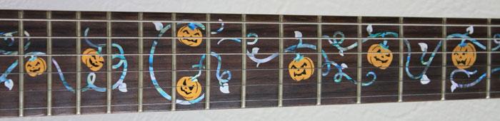 halloween pumpkins inlay guitar