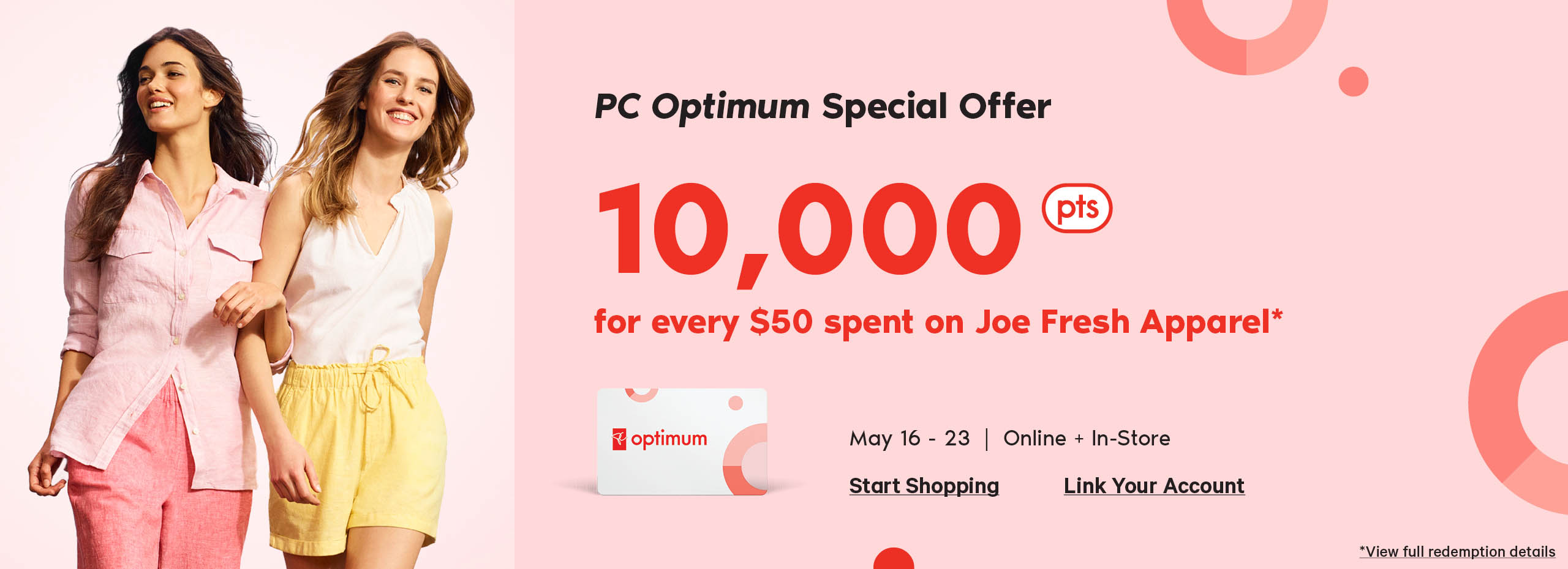 Ten thousand PC Optimum points every 50 dollars you spend