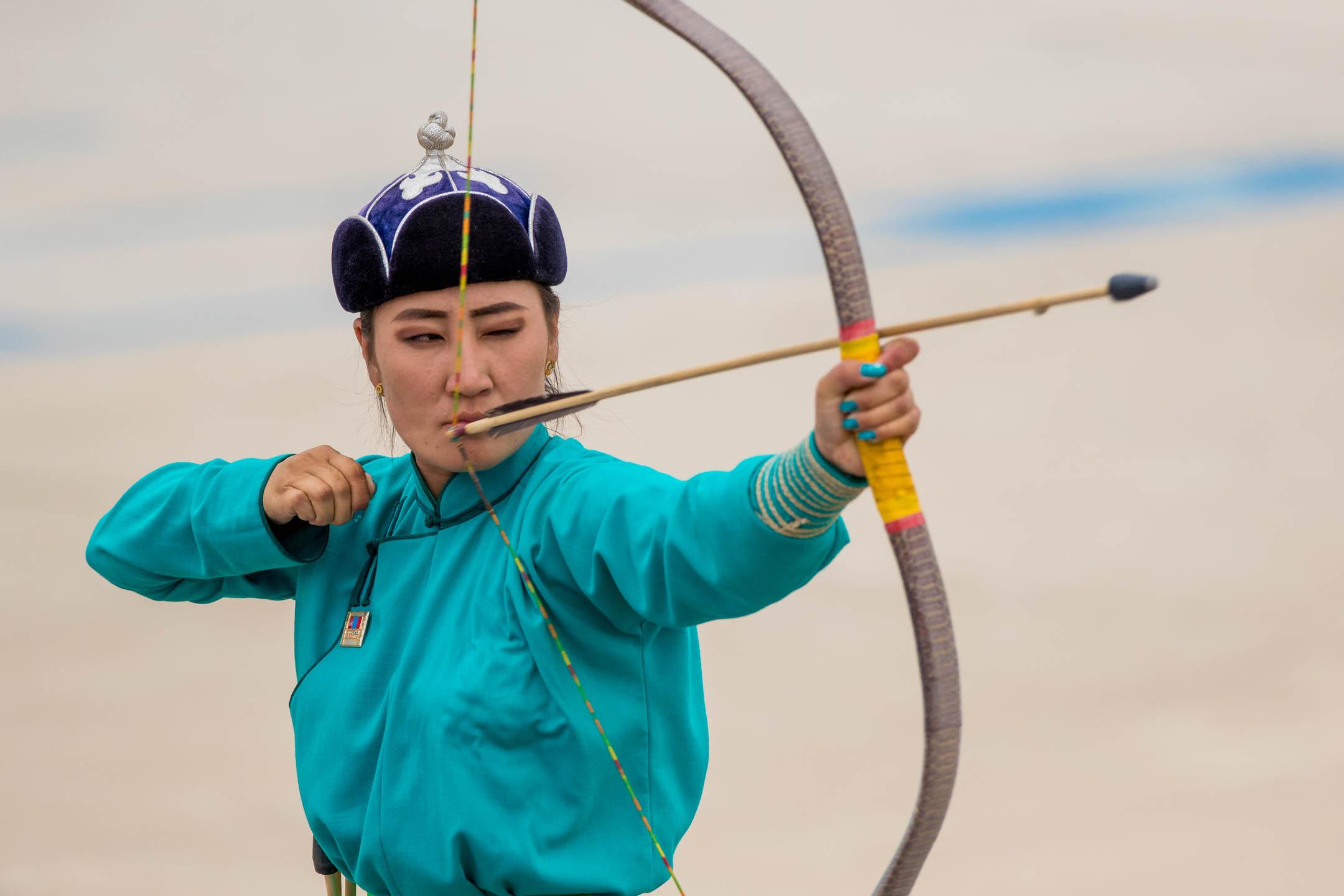People-Mongolia-Naadam-archery-sport-wom