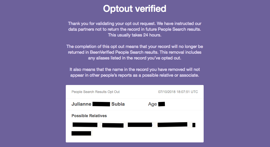 been verified opt out