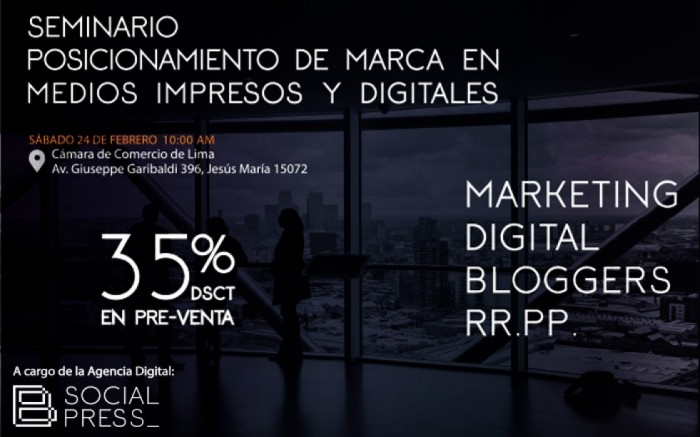 Seminario 100% vivencial de Marketing y PR Digital / Charlas y conferencias / Joinnus