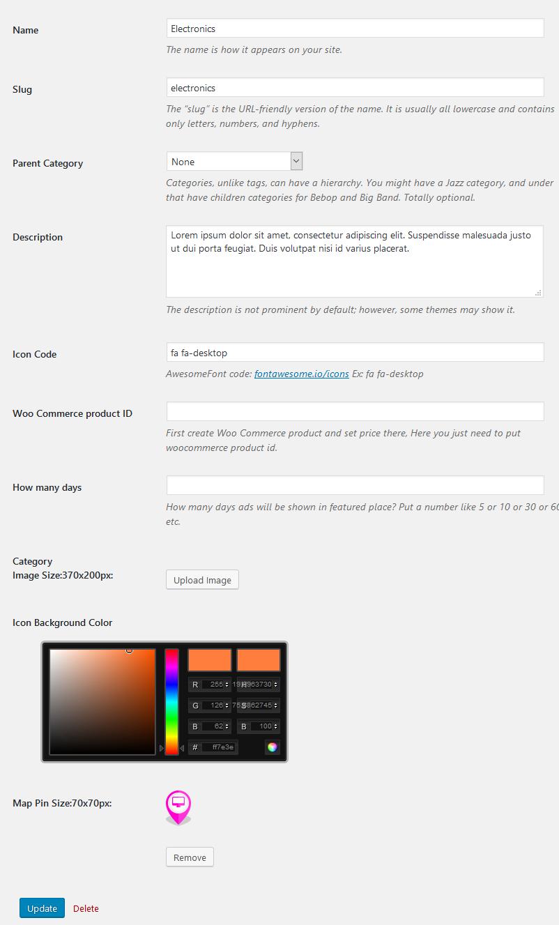 Setup categories icons