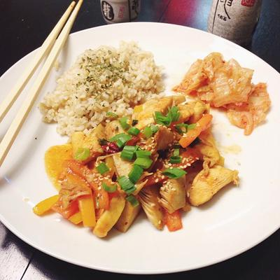 Sweet & Spicy Jackfruit Chicken Stir Fry