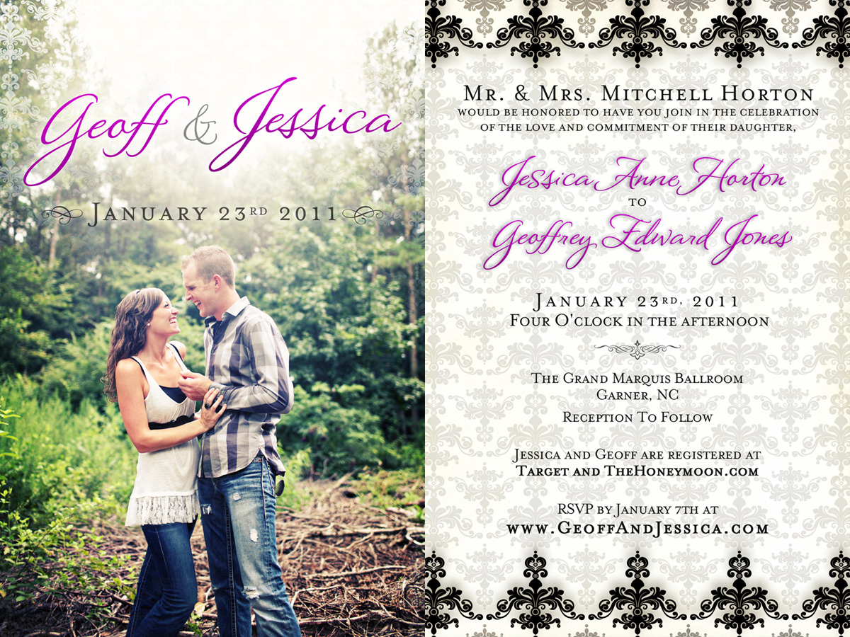 Classic wedding invitations for you: Double sided picture wedding ...