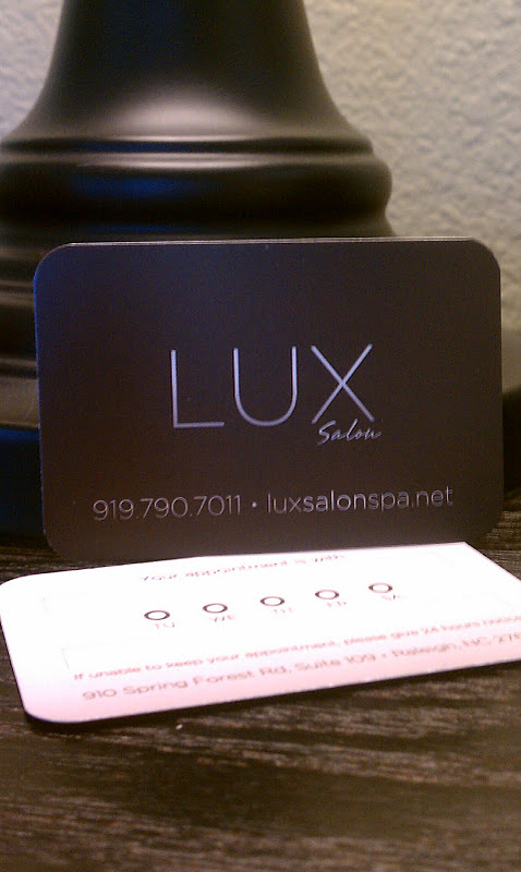 Lux salon raleigh nc logo portfolio jon horton for the business cards i created 2 cards one set for salon stylists and another appointment card which also advertised the salon colourmoves