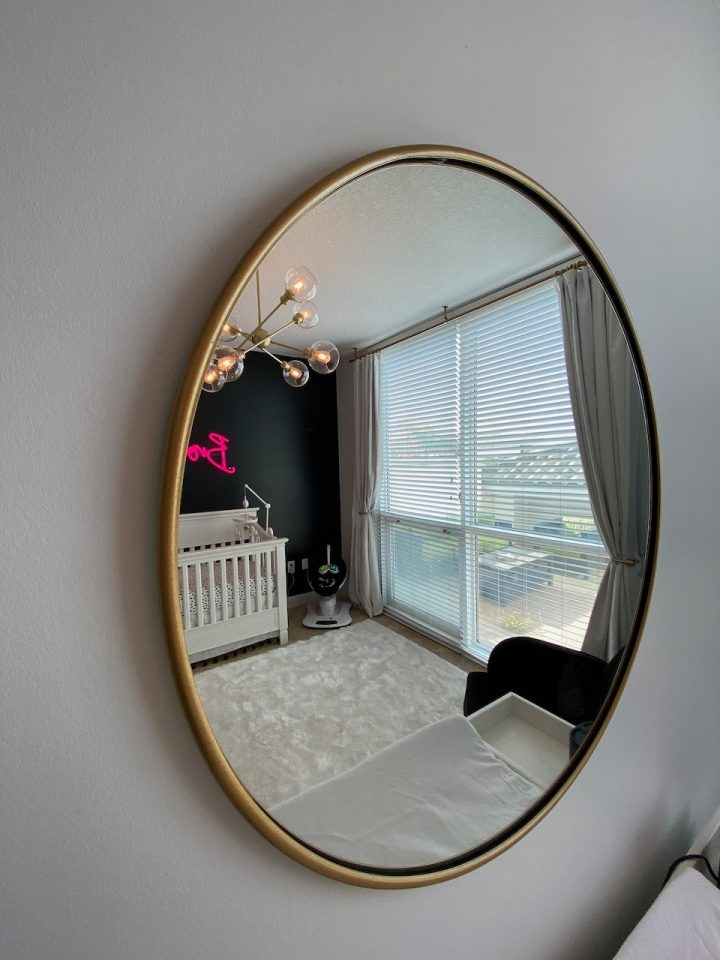 black, white and pink nursery
