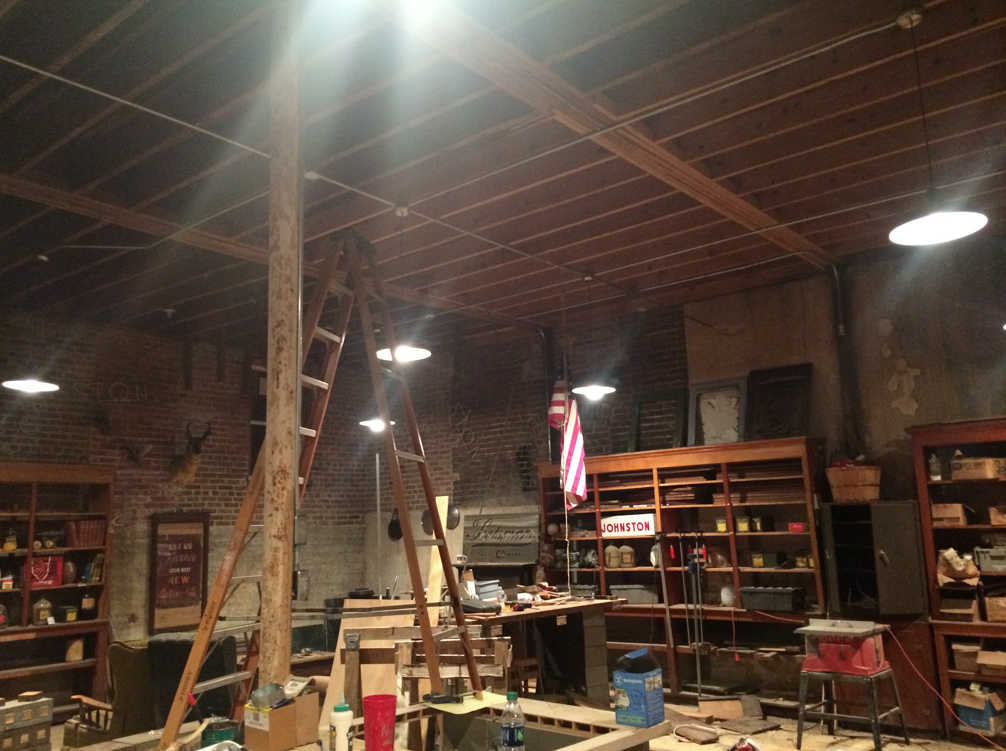 After all these years Josh and Ben finally got some lighting in the woodshop. Woot woot! Look at all that light! (Donu0027t look at the mess!) & 1964 Lights + Hair + Walkeru0027s. u2013 Laurel Mercantile Co.