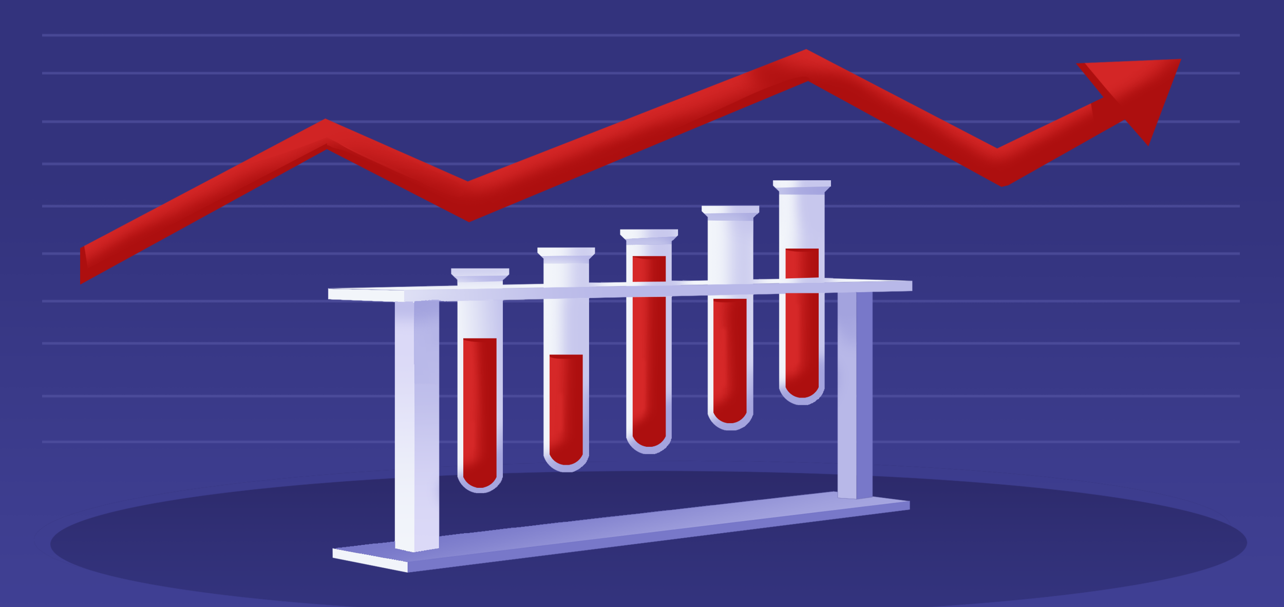 A stylized illustration of test tubes in front of a red line on a chart going up and to the right.
