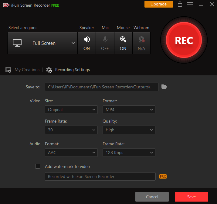 Record Video Call on Facebook with iFun Screen Recorder - Step 1