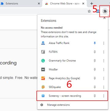 Scherm opnemen Google Chrome extentie - stap 4