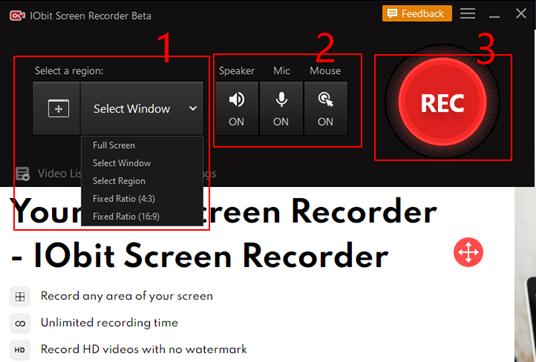 Jak korzystać z IObit Screen Recorder - krok 2