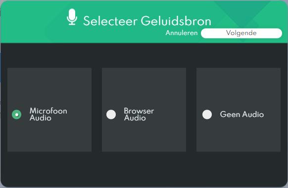 IObit Online Screen Recorder - Geluidsbron Selecteren