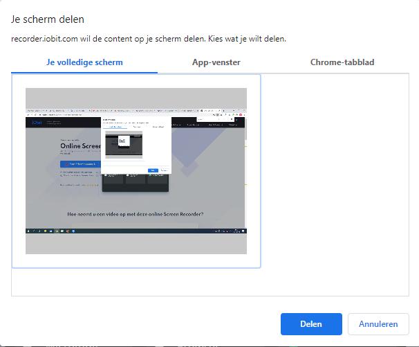 IObit Online Screen Recorder - Scherm Delen