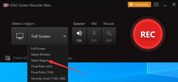 IObit Screen Recorder - Opnamegebied Selecteren