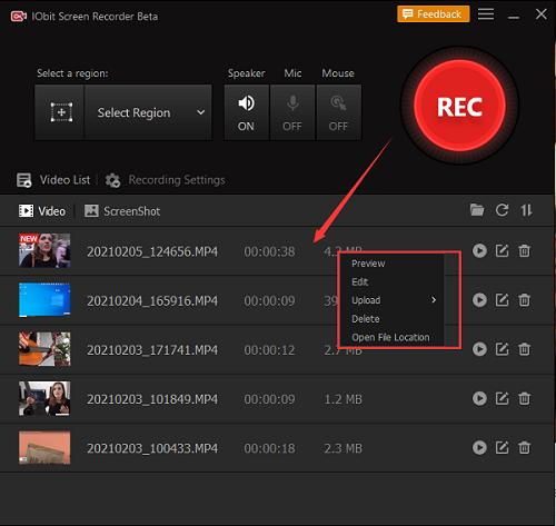 IObit Screen Recorder - Opname editen