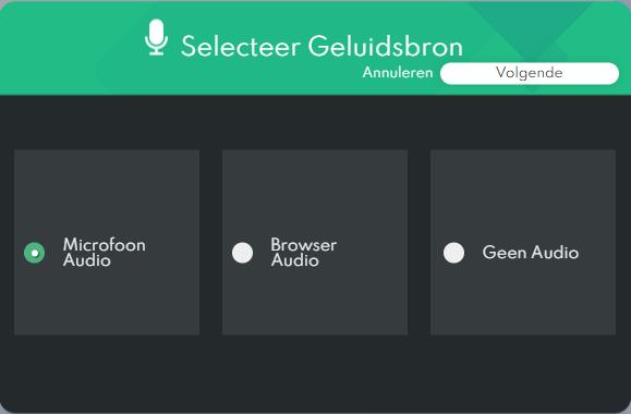 IObit Online Screen Recorder - Selecteer Geluidsbron