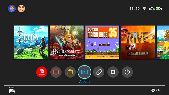 Accedi all'album per vedere i video dei gameplay registrati con Switch