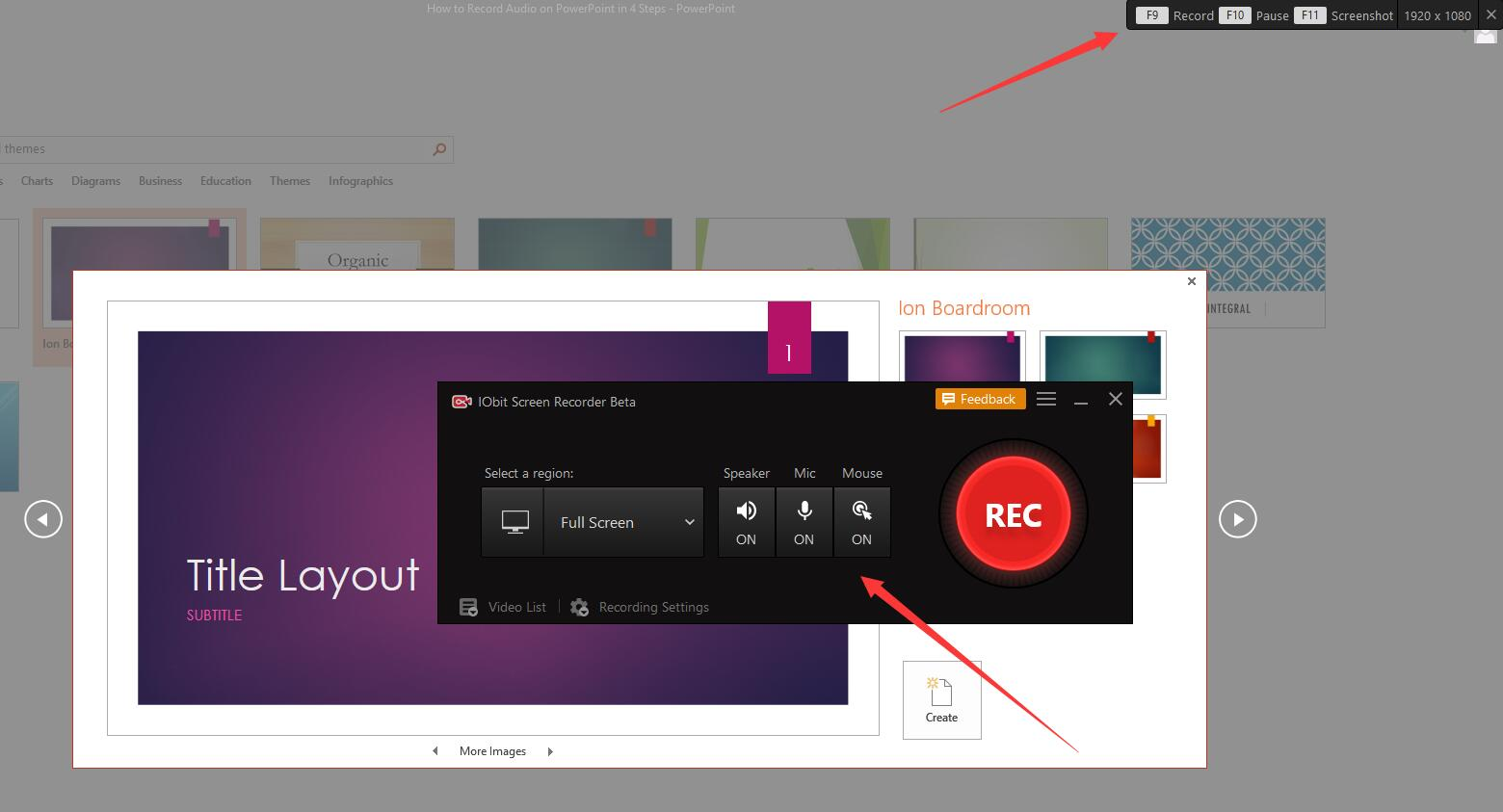 Grabar audio en PPT con iFun Screen Recorder - Paso 3