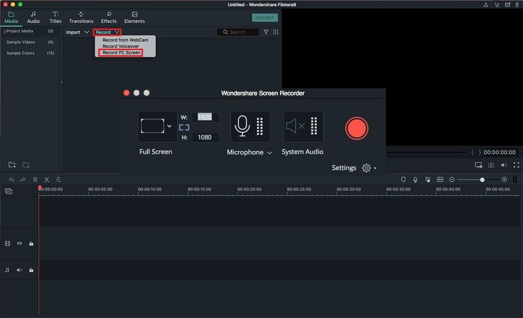 Nagraj ekran komputera używając Filmora