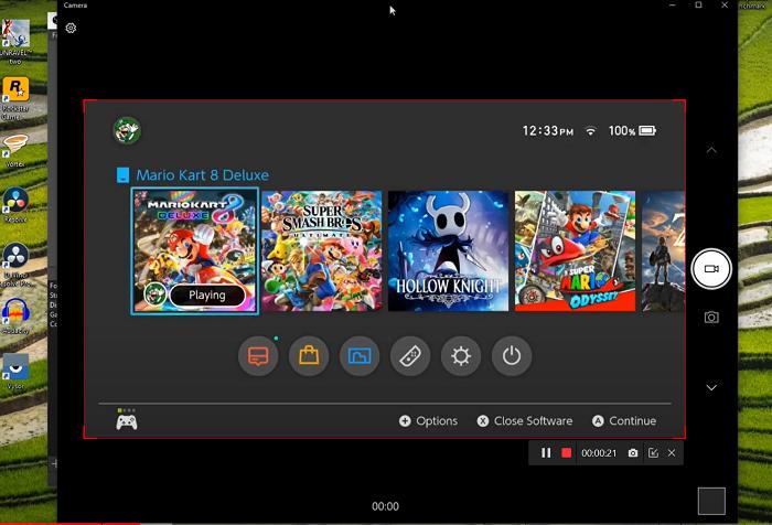 Klik op de REC-knop, de software neemt de gameplay van de switch op