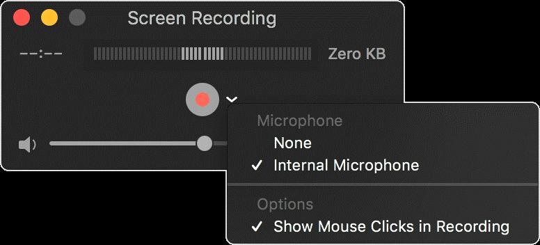 QuickTime Player - Impostazioni di registrazione dello schermo