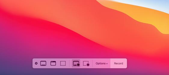 Barra degli strumenti Screenshot su Mac