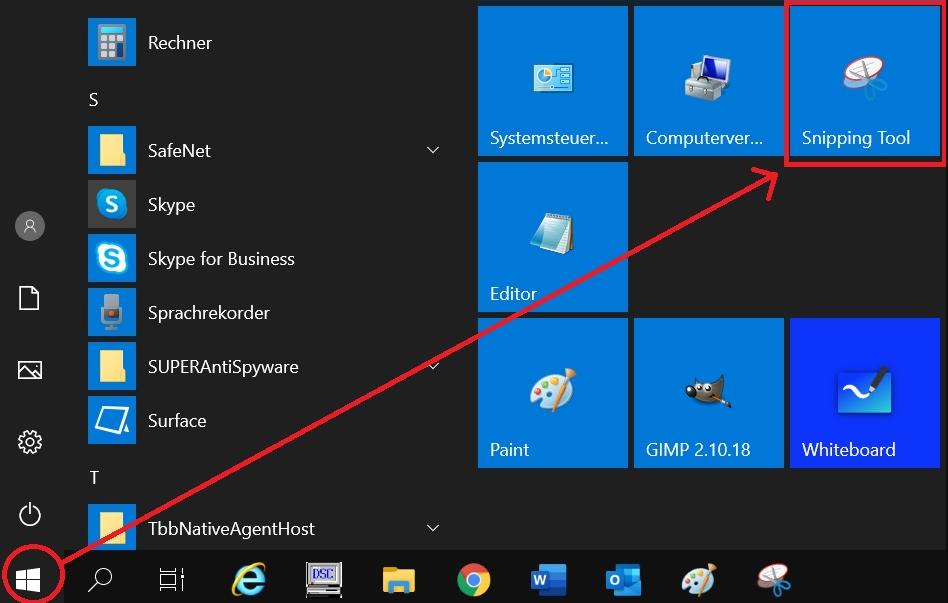 um Screenshots auf PC zu machen