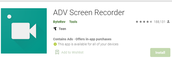 Aplikacja ADV Screen Recorder