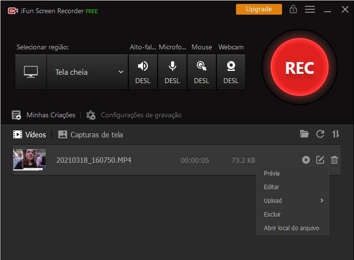 gravar chamadas de vídeo do Facebook com iFun Screen Recorder - Passo 3