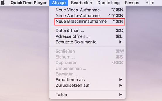 Bildschirm auf Mac aufnehmen