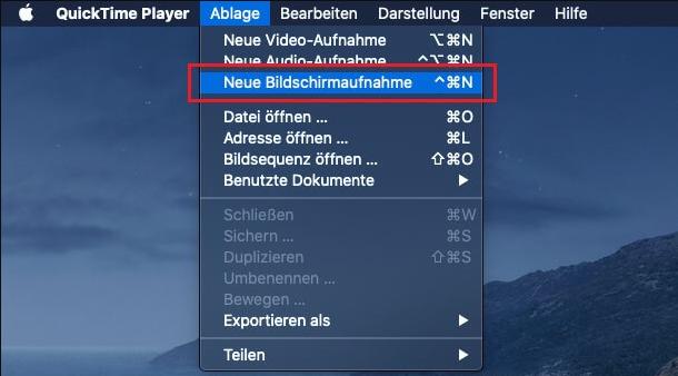 Laptop-Bildschirm mit macOS aufzeichnen - QuickTime Player