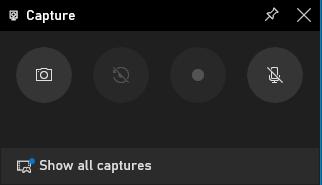 Kliknij białą kropkę na tym panelu, aby nagrać wideo z gry