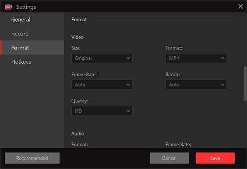 iFun Screen Recorder posiada kompletne ustawienia wideo do nagrywania wideo z gry