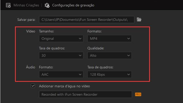 configurações do gravador de tela do ifun